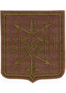 Шеврон 332-го радиотехнического полка в/ч 21514 г. Петрозаводск (оливковый фон, полевая форма одежды) - вариант 2