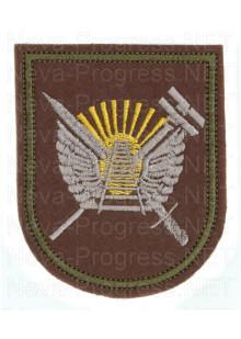 Шеврон 50-я отдельная бригада железнодорожных войск (50 ОдЖБр) г. Свободный в/ч 03415. образца с 2012 г (оливковый фон, зеленый кант)