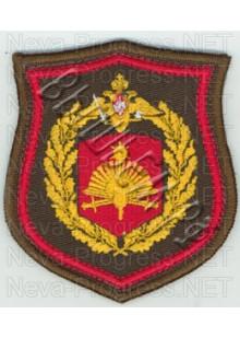 Шеврон 57-й отдельной гвардейской Красноградской Краснознаменной ордена Суворова 2 степени мотострелковой бригады, вч 46102, Бикин образца с 2012 г. с оверлоком