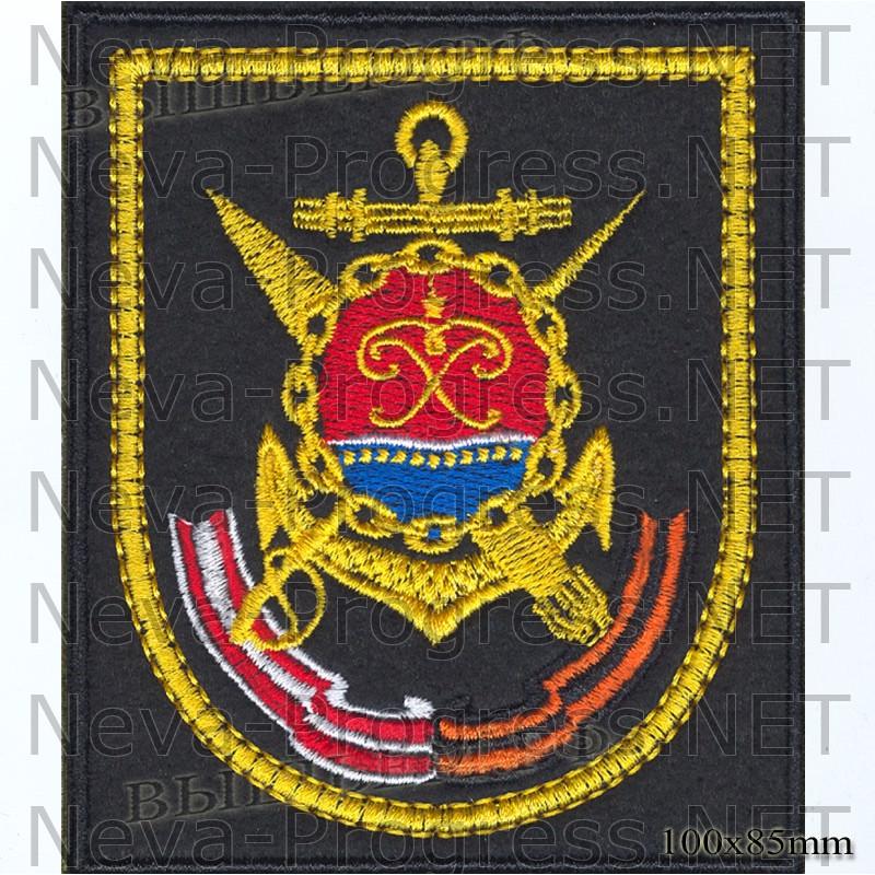 Шеврон 36 бригада ракетных катеров Балтийского Флота, г.Балтийск на черном фоне для повседневной формы