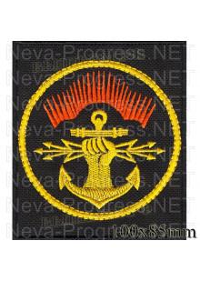 Шеврон Батальон РТО 186-й отдельный центр радиоэлектронной борьбы, в/ч 60134 (г. Североморск)  на черном фоне