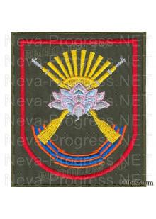 Шеврон мотострелковые войска Лотос г.Уссурийск (оливковый фон)