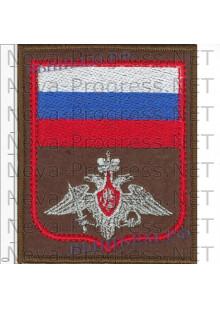 Шеврон для Военных представителей Сухопутных войск МО РФ с красным кантом на оливковом фельте на повседневную форму, оверлок