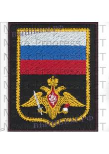 Шеврон Сухопутных войск на оливковом фельте с красным кантом на повседневную форму (черный фон)