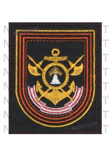 Шеврон 7 гвардейской бригады кораблей охраны водного района Кольской флотилии разнородных сил СФ  на повседневную форму на черном сукне