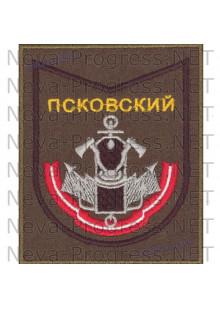 Шеврон 187-й Псковский Ордена Красной Звезды учебный центр инженерных войск в\ч 73420 на оливковом фоне для повседневной формы