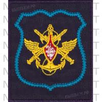 Шеврон Управления Военно Воздушных Сил (голубой кант) на темно-синем фоне для повседневной формы