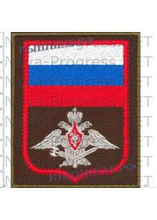 Шеврон Военная Полиция (оливковы фон, красный кант, серый орел)