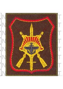 Шеврон 68 армейский корпус Восточный Военный Округ город Южно-Сахалинск (оливковый фон, красный кант)