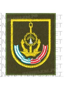 Шеврон 161-я Краснознамённая, ордена Ушакова бригада подводных лодок (оливковый фон, желтый кант)