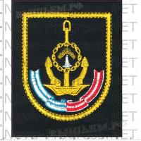 Шеврон 161-я Краснознамённая, ордена Ушакова бригада подводных лодок (черный фон, желтый кант)
