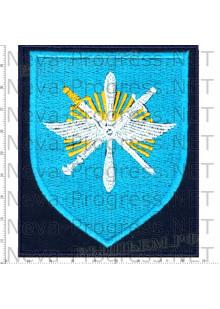 Шеврон 329-й Отдельной смешанной авиационной эскадрильи (329 ОСАЭ) в/ч 13641 «Снежная эскадрилья» аэродром Ключи Камчатская область (темносиний фон, голубой щит)