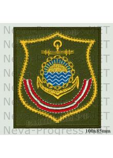 Шеврон Тихоокеанский флот (щит) оливковый фон, желтый кант