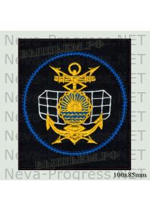 Шеврон 60-й радиотехнический полк в/ч 52020 Тихоокеанского флота Камчатка (черный фон, голубой кант)