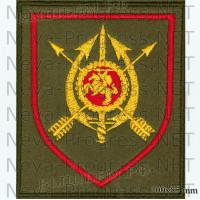Шеврон 19 полк боевого управления В/Ч 49494 Нижегородская область Д. Константиново-5 (оливковый фон, красный кант)