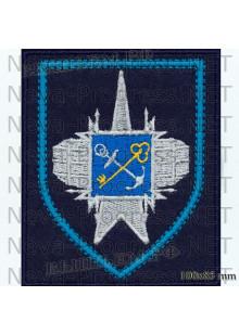 Шеврон 571-й отдельный радиотехнический узел (в/ч 73845 Воронеж-М . Ленинградская область, поселок Лехтуси ( темно синий фон, голубой кант)