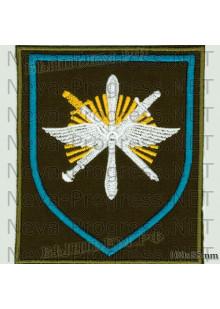Шеврон 329-й Отдельной смешанной авиационной эскадрильи (329 ОСАЭ) в/ч 13641 «Снежная эскадрилья» аэродром Ключи Камчатская область  (оливковый фон, голубой кант)