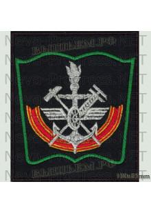 Шеврон Военно-транспортный университет Железнодорожных войск (ВТУ ЖДВ)  г. Санкт-Петербург (черный фон, зеленый кант)