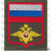 Шеврон Росгвардии России ( орел внутренних войск) оливковый фон, красный кант)