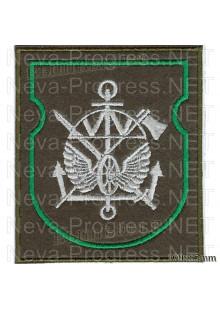 Шеврон  Железнодорожных войск(колесо, крылья, зеленая рамка) оливковый фон