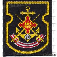 Шеврон Ленинградская военно-морская база (ЛенВМБ) Балтийского военно-морского флота Российской Федерации (черный фон, желтый кант)