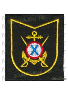 Шеврон 907-й Объединенный учебный центр ОУЦ ВМФ (пос. Ржевка Ленинградской области) черный фон, желтый кант