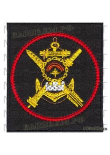 Шеврон 536-й отдельной береговой ракетно-артиллерийской бригады Северного флота (черный фон, красный кант)