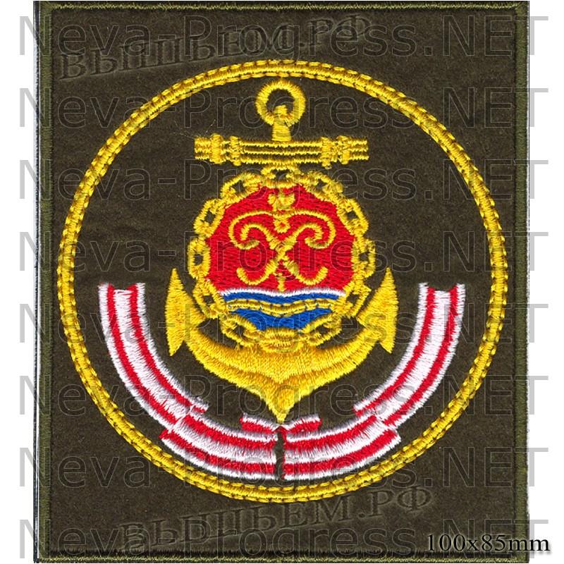Шеврон Балтийский флот ВМФ России (оливковый фон, желтый кант)