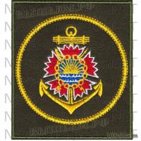 Шеврон Разведывательные подразделения Тихокеанского флота Российской федерации (оливковый фон, желтый кант)