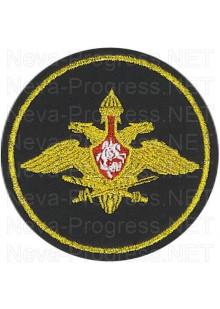 Шеврон Генерального штаба Армии России (Приказ МО РФ № 210 от 28 марта 1997 г.) черный фон, желтый кант