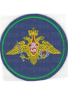 Шеврон Воздушно-десантных войск Армии России (синий фон, зеленый кант,серый орел и меч )  Приказ МО РФ № 210 от 28 марта 1997 г.